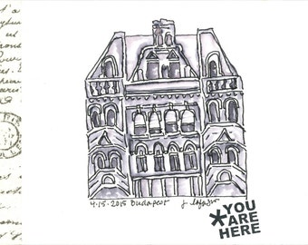 Budapest Building ~ original watercolor