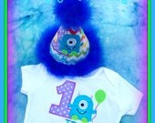 Cake Smash Set, Little Monster First  Birthday Hat and Onesie,  by Gingham Bunny