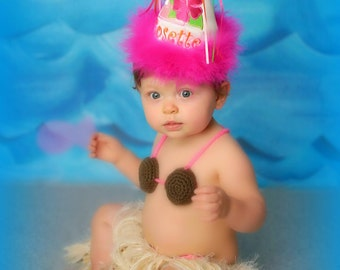 Luau BirthdaY Hat, Any Number,  You Choose Colors, by Gingham Bunny
