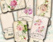 ROSE TICKETS Collage Digital Images -printable download file Digital Collage Sheet Vintage Paper Scrapbook