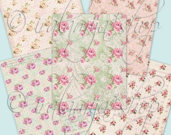 "PINK GARDEN  8.5"" x 11"" backgrounds Collage Digital Images -printable download file-"