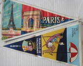 FOUND IN SPAIN - Pair of souvenir pennants from Spain and France