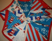 Flag Banner . Fabric . Bunting . Photo Prop . Reusable . One of a Kind . EcoFriendly . Dr. Seuss