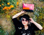 Against Clutch- Pink and Orange Splattered Canvas and Black Leather Clutch Bag