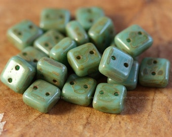 last ones .. TURQUOISE CHEXX .. 20 Picasso Glass CzechMate Tile Beads 6mm (4072-20)