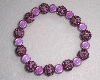 Lilac Miracle and Disco Bead Chunky Stretch Bracelet