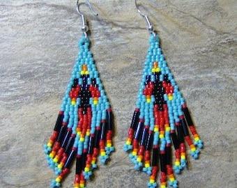 Water Bird Earrings Hand Made Seed Beaded Native Inspired