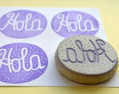Hola hand carved rubber stamp, handmade rubber stamp