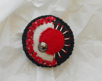 Felt Pin -   Red Sun - Brooch in Chinese Red, Jet Black, Winter White and Hand Painted Silk Ribbon