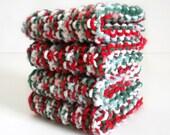 Knit Dish Cloth / Red White Green Cloth / Knit Wash Rag / Christmas Dish Rag / under 10 gift