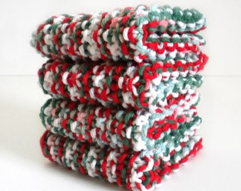 Knit Dish Cloth / Red White Green Cloth / Knit Wash Rag / Christmas Dish Rag / under 10 gift