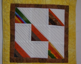 Scrappy Triangles Mini Quilt or Mug Rug
