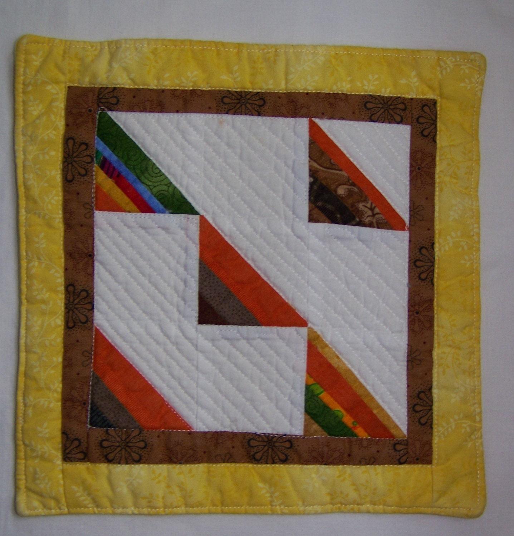 Scrappy Triangles Mini Quilt Mug Rug Or Coaster