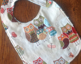 ON SALE - Owl Minky Baby/Toddler Bib