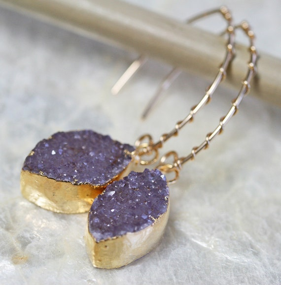 Druzy Dangle Earrings in Grey Purple