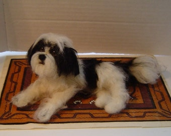 Needle felted dog Custom Shih Tzu pet sculpture art miniature animals