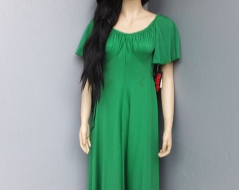 Vintage 1970s Dress by  Miss Elliette California   size 10, Green  / Deadstock New w/Tags