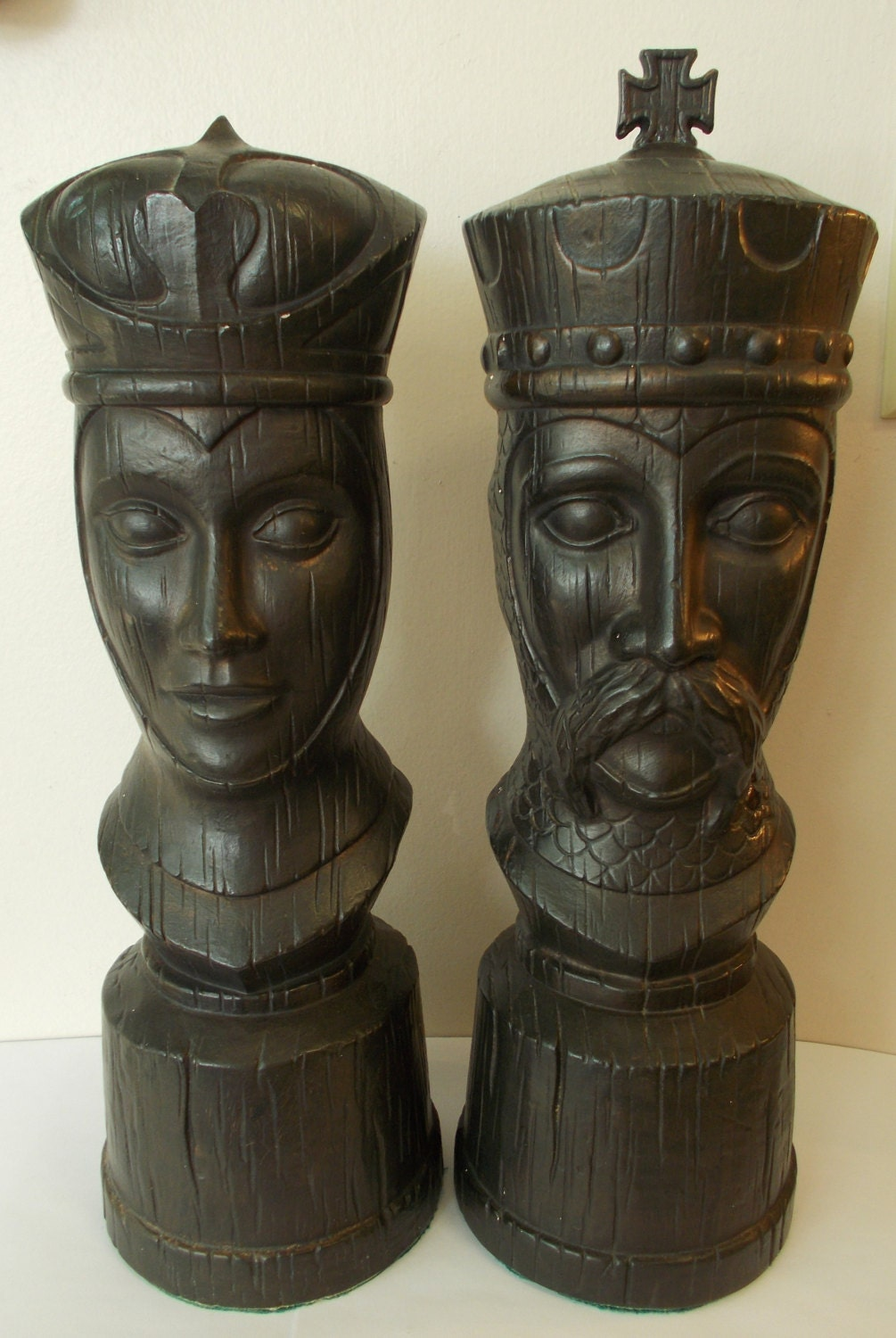King And Queen Chess Pieces Large Ceramic Modern Mid