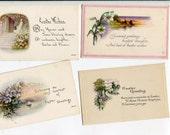 Easter Postcards Grab Bag #21, Lot of 4 vintage postcards, landscapes, flowers
