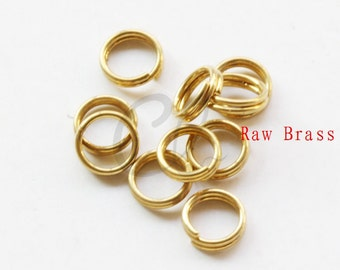 100pcs Raw Brass Double Jump Ring - Spring Ring 6x0.7mm (1978C-F-533)