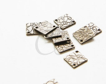 10pcs Antique Brass Plated Brass BaseTextured Links - Square 8mm (1757C-L-76)