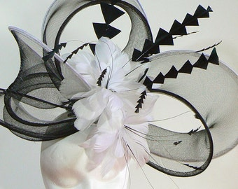 Dramatic horsehair loop hat - Dubai couture hat - black and white melbourne cup