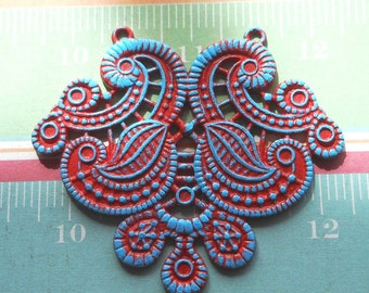 ethnic pendant, CORAL collection colorful red and blue altered large ethnic jewelry focal pendant 1 piece, jewelry making supplies