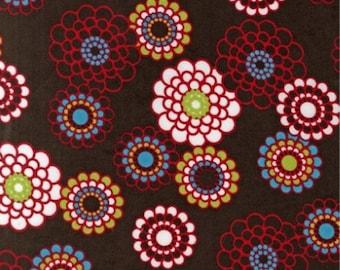 Five (5) Yards -Cool Cords Wale Corduroy Geometric Flowers Robert Kaufman AAKU-13480-16 Brown