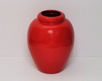 Vintage Large Ceramic Vase with Lipstick Red Glaze