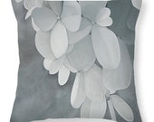 Hydrangea Throw Pillow - Gray and White Neutral Colors Botanical Flower Fine Art Cushion