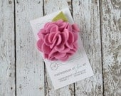 Rose Pink Felt Carnation Flower Hair Clip - soft pink - LARGE scallop carnation style - felt hair clip - felt flower hair bows