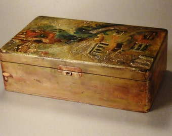 VINTAGE JEWELRY CIGAR Box  Handcrafted Handpainted wood Folk Art  app. 10 x 6 x 3 in Farm Scene
