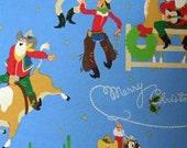 Clearance FABRIC Giddy Up SANTA Christmas WESTERN Rodeo Boys Fabric Texas Alexander Henry 1/2 Yard