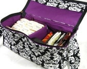 "Coupon Organizer, Coupon Pocketbook ,Mega Deluxe, 6"" Double Wide, Black and White Damask"