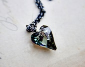 Crystal Heart, Crystal Necklace, Heart Pendant, Sterling Silver, Swarovski Heart, Crystal Jewelry, Titanium Gray, Crystal Pedant, Polestar