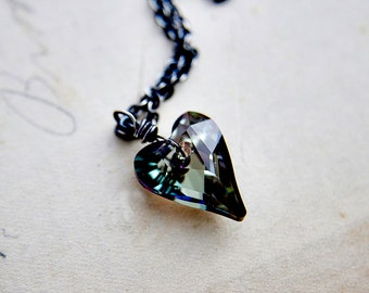 Crystal Heart, Crystal Necklace, Heart Pendant, Sterling Silver, Swarovski Heart, Crystal Jewelry, Titanium Gray, Crystal Pedant, Polestar