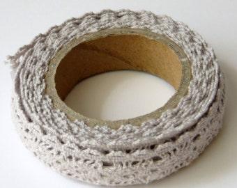 Gray Lace Tape, Crochet Fabric, Decorative Cotton Adhesive