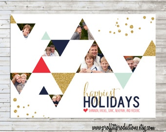 Modern hipster triangles photo collage holiday Christmas greeting card