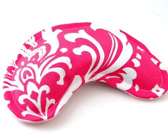 Eye Pillow Mask, Yoga Aromatherapy, Rice Flax Seed, Herbal or Unscented, Lavender Chamomile Sinus, hot pink white damask