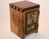 Walnut Antique Post Office Door Bank Box Urn