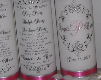Monogram Unity Candle and Memorial Candle - FIVE piece set in your choice of  colors