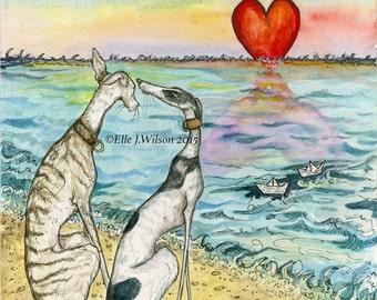 Dog Art Print - Greyhound Valentine Illustration