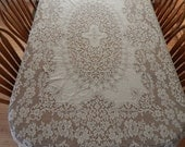 Vintage Quaker Lace Tablecloth Ecru Color Pattern No 5320 Baroness Rectangle
