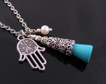 Hamsa Hand Necklace with Turquoise and Pearl, Protection Necklace with Hamsa Hand Pendant , Turquoise Necklace,