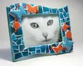 Butterfly Mosaic Frame, Aqua Blue Orange Mosaic Frame, Handmade Mosaic Butterfly Frame, Turquoise and Orange Mosaic Butterfly Frame