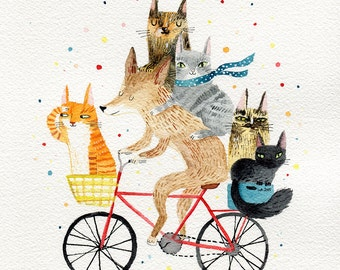 Dog and 5 cats, cycling animals A4 print