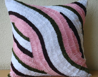 """Designer Pink Throw Pillows Cover For Couch, 16""""x16"""" Silk Pillowcase, Square  Ribbon Art Work Pillows Cover - Ribbon Flair"""
