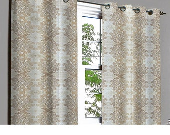 Ivory & Copper Damask Velvet Dew Drops Grommet Blackout Lined Curtain in Textured Fabric Decor and Housewares Window Treatment Drapes Panels