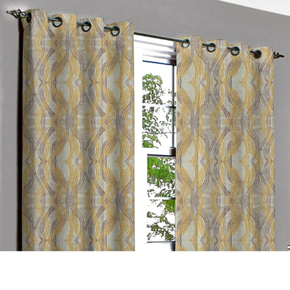 Window Curtains Gray And Yellow: Yellow N Grey Beauty Grommet Lined Curtain In Textured