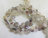 Natures Artwork Mix Moss Amethyst Gold Tourmalated Rutilated Quartz Briolette Beads 8 Inches
